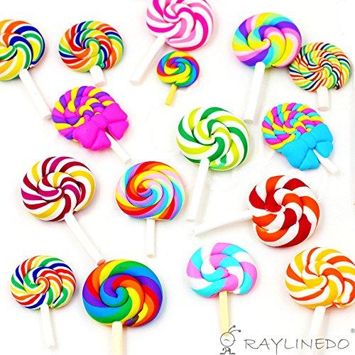 RayLineDo® 16 Ornamente in zufälliger Lollipop-Form, Modelliermasse, Regenbogen-Farben, für Bastelprojekte