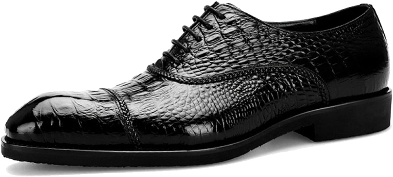 Männor Crocodile Mönster Oxford Real Real Real Leather Derby Classic Brogues Formal skor Business skor skor Lace Ups Square Toe for Evening Party Wedding Working Gåvor  den mest fashionabla