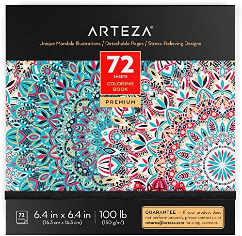 ARTEZA Coloring Book for Adults Mandala Designs 72 Sheets 100 lb 6 4x6 4 Inches for Anxiety product image