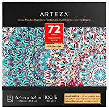Arteza Coloring Book for Adults, Mandala Designs, 72 Sheets, 100 lb, 6.4x6.4 Inches, for Anxiety, Stress Relief & Relaxing, Detachable Pages