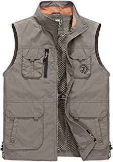 XXT Pocket Vest Polyester Fiber Men's Spring and Autumn Thin Sports and Leisure Multi-Pocket Vest Practicality (Color : Khaki, Size : 5XL)