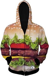 BEEFS 3D Printed Burger Hoodie Hooded Zip Hoodie