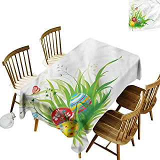 Washable Tablecloth Easter Hidden Eggs on Grass Spring Party Decorations Table Cover Cloth 60