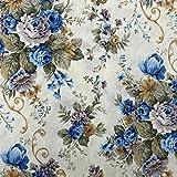 Kt KILOtela Tela de loneta Estampada - Retal de 100 cm Largo x 280 cm Ancho | Flores - Azul ─ 1...