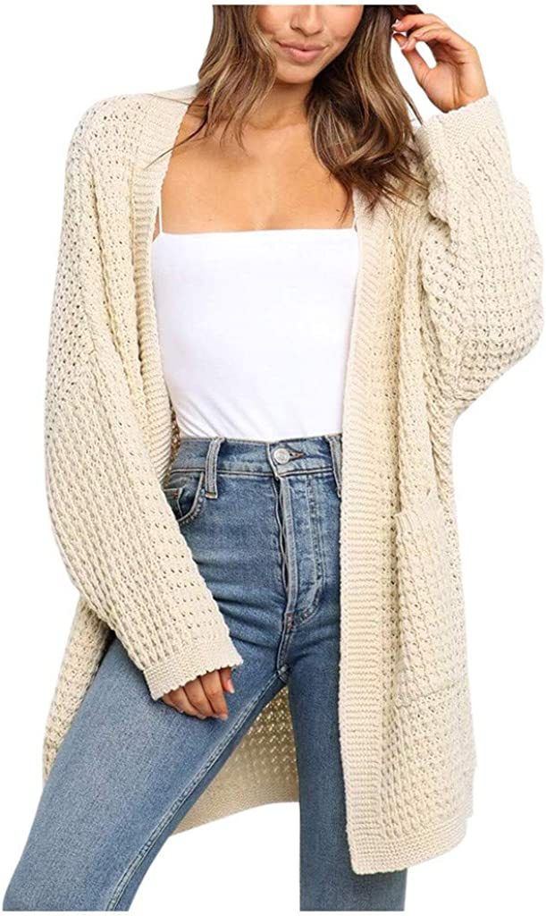 soyienma Sweaters for Women,Womens Kimono Long Batwing Sleeve Open Front Chunky Cable Knit Cardigan Sweater with Pockets