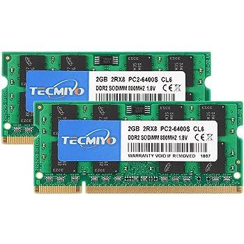 テクミヨノートPC用 メモリ1.8V PC2-6400 (DDR2 800) 2GB×2枚 200Pin CL6 Non-ECC SODIMM 永久保証