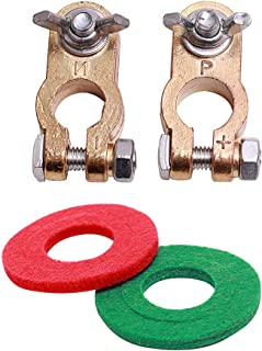 Thickened Brass Battery Terminal Connectors Clamp Clip Set Positive & Negative Car Battery Terminal Post Red Black for Aut...