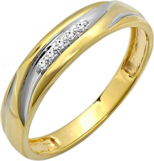 Dazzlingrock Collection 0.07 Carat (ctw) 18K Yellow Gold Plated Sterling Silver Round Diamond Men's Anniversary Wedding Band