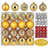 Zogin Adornos de Adornos navideños Bolas de árbol de Navidad inastillables Decoraciones Bola Colgante para decoración de Navidad, cumpleaños, Celebraciones (Oro, 32piezas-4cm)