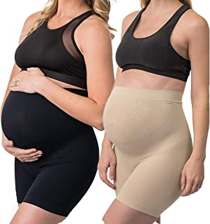 Diravo 2 Pack Womens Seamless Maternity Shapewear High Waist Mid-Thigh Pettipant Pregnancy Underwear for Belly Support