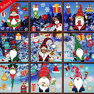 Christmas Window Stickers,Christmas Gnome Clings for Glass Windows, Static Holiday Window Clings for Glass