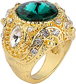 Vintage crown ring, golden oversized rhinestone ring, gold-plated shiny gemstone ring for men and women