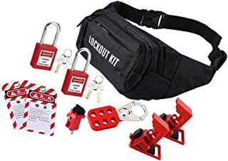 Perfk Lots 1 Universal Miniature Group Padlock Tagout Kit With Bags Steel Red