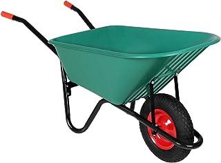 Monzana Carretilla Verde de 100L / 150 kg con rueda y agarraderos todoterreno jardin obras construcción herramienta