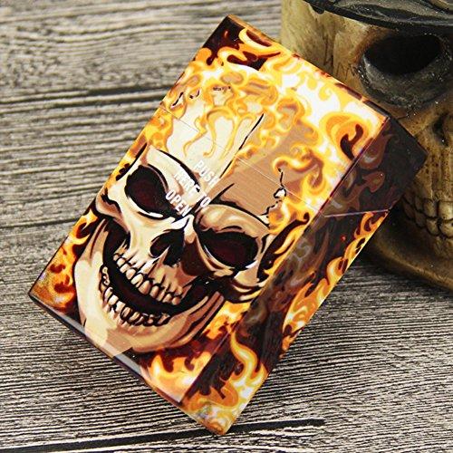 NACHEN Kreativer Schädel Plastikzigaretten Kasten Mit Automatischem Abdeckungs Zigaretten Halter Kasten Hält 20 Zigaretten,Color5,95X62x28mm