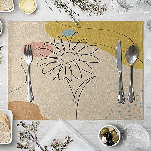 Beydodo Set Table 4 Personnes, Tapis de Table Rectangulaire 40x30cm Impression d'art de Fleur - Set Table Lin