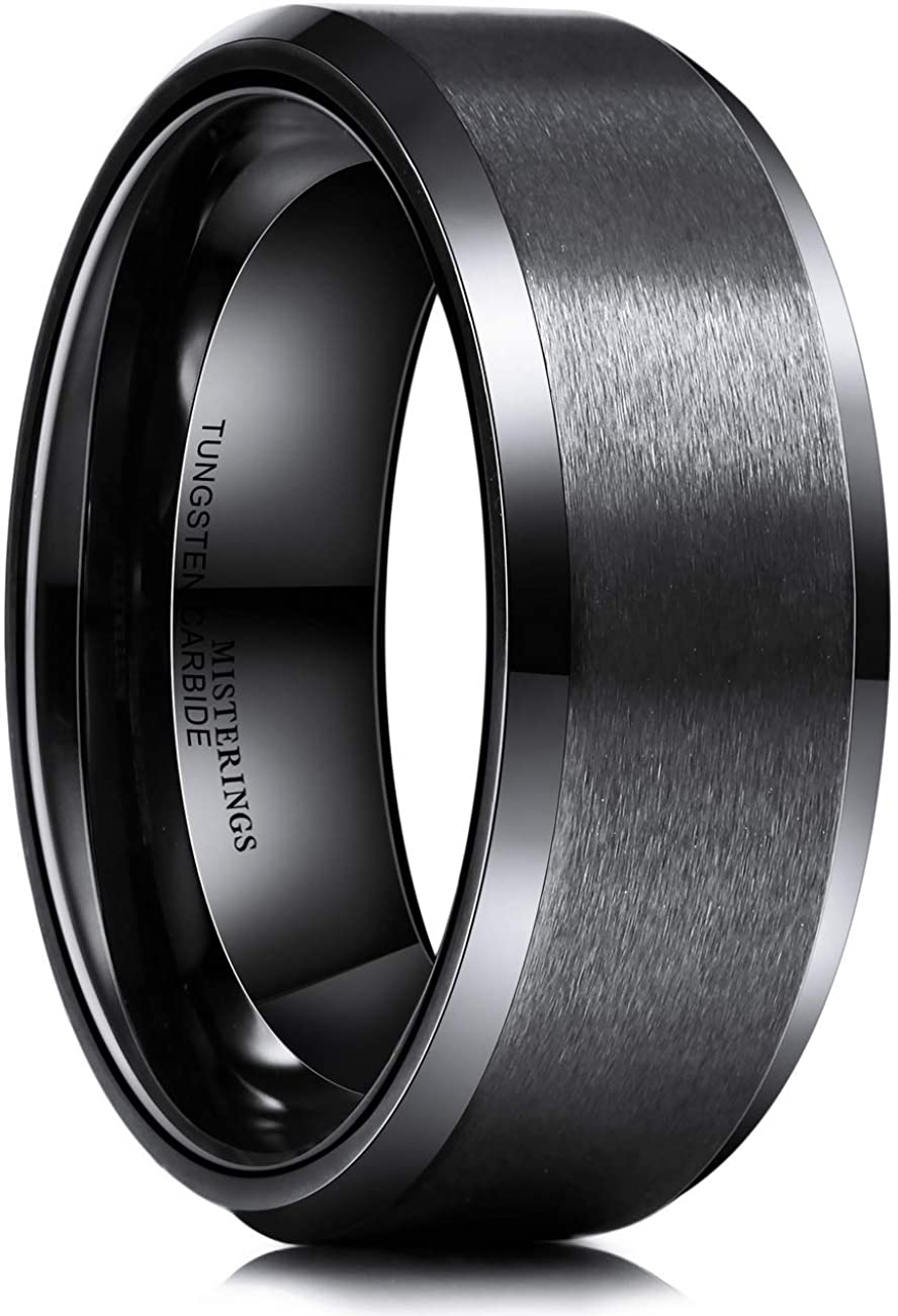 MISTERINGS Basic 6mm 8mm Tungsten Carbide Wedding Rings for Men Black Matte Finish Beveled Edge Comfort Fit Band