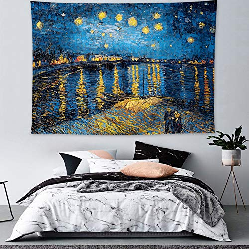 OATHENE Starry Night Over The River Art Oil Painting Tapestry Blue Yellow Moon City