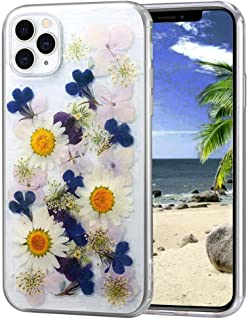 iPhone 11 Pro Max Real Flower Case, Chrysanthemum Soft Silicone Cover with Handmade Pressed Dried Flowers, Transparent Ultra-Thin Ultra-Light for iPhone 11 Pro Max (Powder Purple)