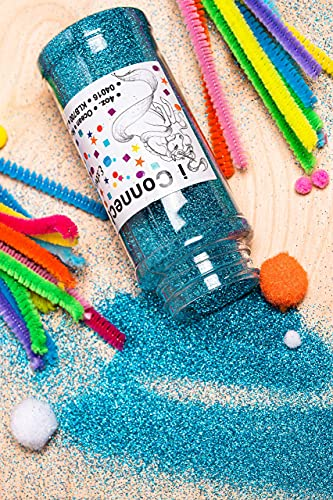 iConnectWith Glitter - Ocean Turquoise Blue, Extra Fine Holographic Turquoise Glitter; Multi-use for Crafts, Decorations, Nail Art, Makeup, Tumblers, Resin Art, and DIY Projects