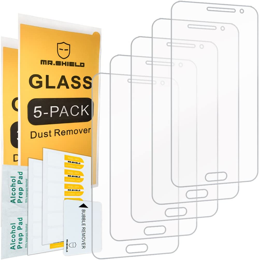 [5-PACK]-Mr.Shield Designed For Samsung Galaxy J3 / Galaxy J3 (2016) [Will Not For J3 Prime] [Tempered Glass] Screen Protector with Lifetime Replacement