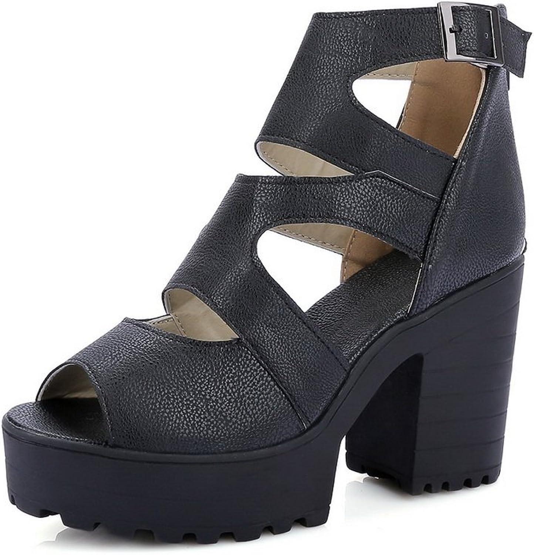 BalaMasa Womens Sandals Peep-Toe Huarache Urethane Sandals ASL04720