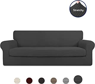 PureFit 2 Pieces Stretch Slipcover for 3 Cushion Couch – Spandex Jacquard Non-Slip Soft Fitted Sofa Couch Cover, Washable Furniture Protector with Non Skid Elastic Bottom for Kids (Sofa, Dark Gray)