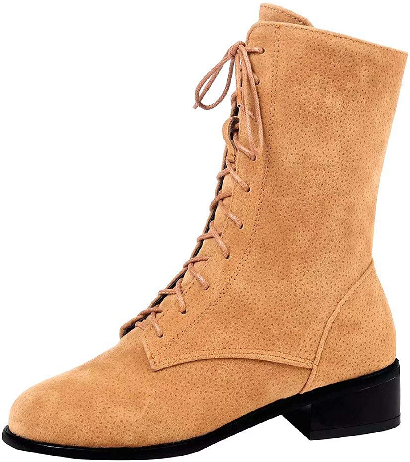 Fashion Ladies Low Heel Straps Round Head Thick with A Tube in The Warm Martin Boots