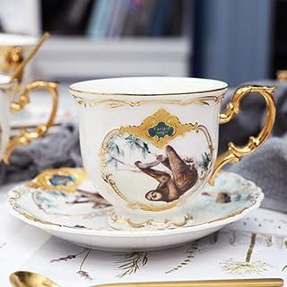 Reutilizable Juego De Tazas De Café De Porcelana Taza De Café De Animales De La Selva Y Platillo Pájaro Mono Estilo Taza De Té China De Hueso De Oro, 01,04