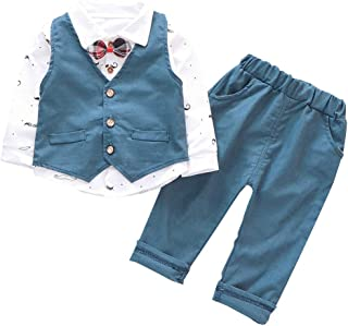 Baby Boy Girl Clothes 3Pcs/Set Bow Ties Shirts + Vest + Pants Gentleman Outfit SuitsforKids