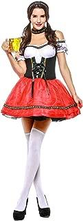 Womens Beer Maid Costume Bavarian Oktoberfest Beer Maiden Halloween Costume Red