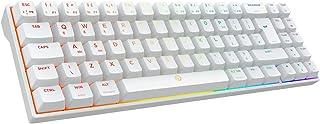 DREVO Calibur V2 PRO Bluetooth 5.1 Teclado mecánico inalámbrico RGB para juegos con cable USB-C desmontable, compatible con PC/Mac, 72 teclas de diseño compacto inglés británico (Outemu azul, blanco)