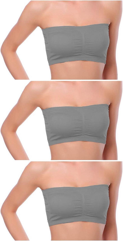 Venbond 1-4Packs Womens Seamless Bandeau Crop Tube Top Bra Strapless Padded Bralette