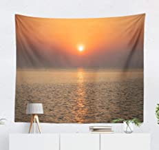 Sunset Kanagawa Japan Wall Tapestry,Tapestry Wall Hanging Sunset Japan Beach Beautiful Coast Space Evening Town WallArt for Bedroom Living Room Tablecloth Dorm Decor 60x50 Inches, Sunset Japan Beach