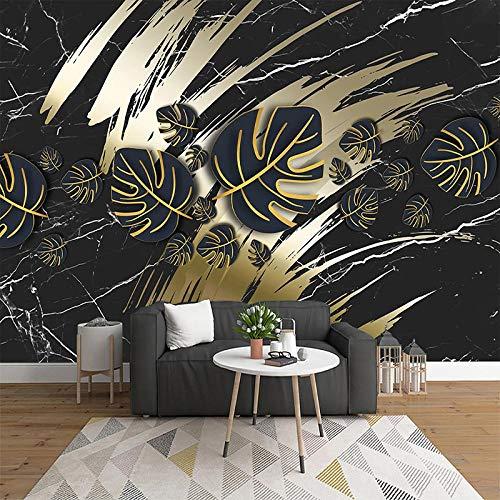 Msrahves Fotomural Vinilo Creatividad oro negro hojas mármol. 250X175CM Fotomurales 3D Pintura Óleo Fotográfico Mural Papel Pintado Fotomurales Salón Dormitorio Decoración de Paredes Moderna Wallpaper
