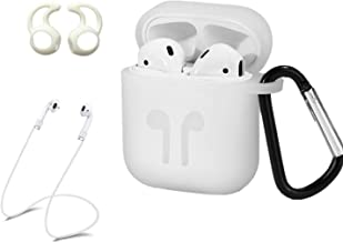 AC Parts AirPods Case Accessories Kits Protective Silicone Cover and Skin 2 Ear Hook Grips, 2 Anti-Loss Staps, 1 Earphone Bag Apple Airpods Charging Case (White)