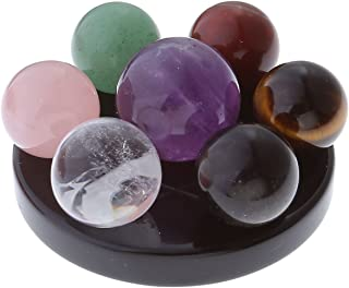 Jovivi Seven Star Group Natural Amethyst Chakra Crystal Sphere Ball with Black Obsidian Stand w/Box