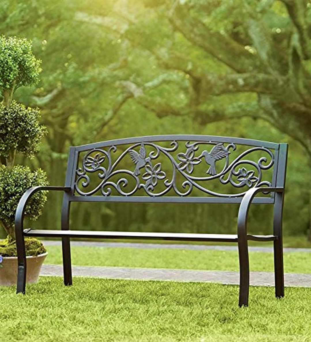 Hummingbird Patio Garden Bench Park Yard Outdoor Furniture, Detailed Decorative Design with Vines and Flowers, Classic Black Finish, Easy Assembly, 50 L x 17 1/2 W x 34 1/2 H