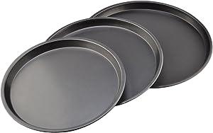 Bakeware Set, Yamix Carbon Steel Round Nonstick Kitchenware Baking Pan Food Plate Serve Plate Drip Pans Baking Sheets Cookies Plate Cake Pan Pizza Tray Bakeware 3Pcs - Black by Yamix