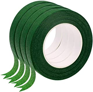 "Wingsflying 4 Rolls 1/2"" Wide 30Yard/Roll Floral Tapes for Bouquet Stem Wrap Florist Craft Projects (Dark Green)"