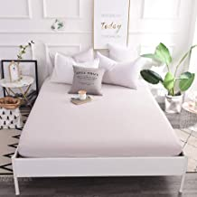 with Strong Elastic Hem,Polyester Solid Color Sheets,Single and Double King Size dust Cover for Apartment Bedroom-Gray_18...
