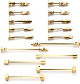 PiercingJ 16pcs Stainless Steel 14G Cross Screw Nail Ear Studs Spike Rivet Earrings Nipple Rings Long Barbell Ear Cartilage Rings Unisex Body Piercing Jewelry