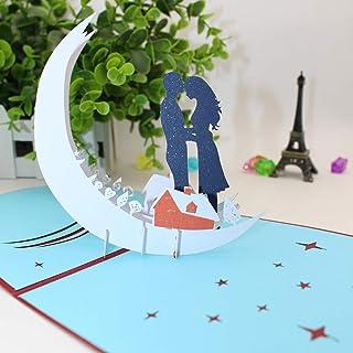 Tarjeta 3D, Pop-up Tarjeta de Felicitación, Tarjeta Plegable para Boda Romantica Aniversario Cumpleaños Navidad Dia de la Madre San Valentín Tarjeta de Graduación, Luz de La Luna Romántica