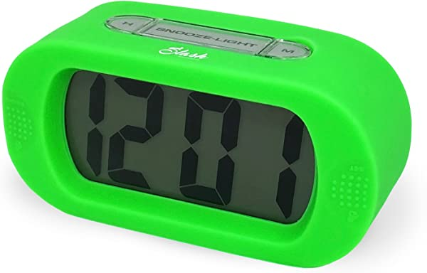 Slash Easy Setting Easy Read Silicone Protective Cover Digital Silent LCD Large Screen Bold Numbers Bedside Desk Alarm Clock With Snooze Night Light Function Battery Powered Green S10109