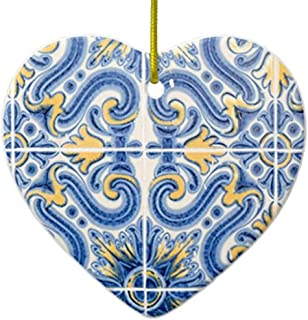 Cheyan Blue and Yellow Tile, Portugal Ceramic Ornament Heart