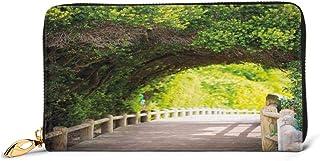 Women's Long Leather Card Holder Purse Zipper Buckle Elegant Clutch Wallet, Nature Boardwalk Through Green Archway Bridge ...
