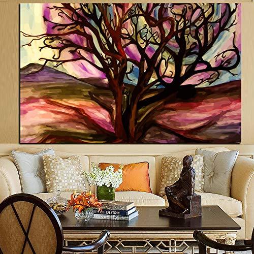 SADHAF Abstracte woestijn boom popart olieverfschilderij afdrukken canvas woonkamer poster sofa decoratie 70X100cm (kein Rahmen) A6.