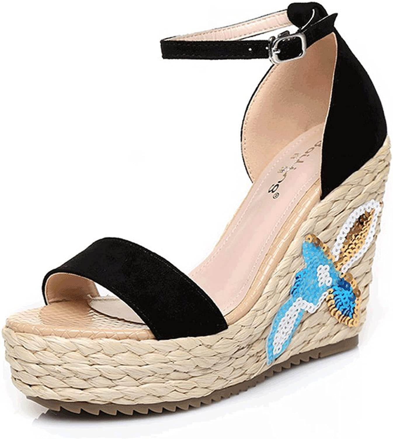 Black Wedges Sandals High Heels Bohemian Vintage Embroidered Open-Toe Woven Ankle shoes (color   Black 10.5cm, Size   38)