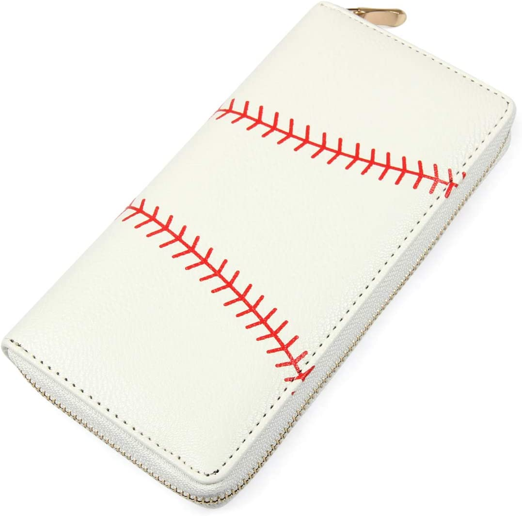 Geometric Print Zip Around Wallet - Card Phone Slot Zipper Purse Chevron, Cork, Crochet, Camo, Stripe, American Flag (Sports - Baseball)