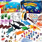 FUNZBO Ocean Sea Animals Paint Set - Paint Your Own Ocean Toys DIY Toddler Activities Art Toy Painting Kit with Paint Supplies Color Brush Set Kids Arts and Crafts Ages 4 5 6 7 8 Years Old Boys Girls